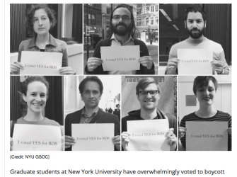 Salon Friday, Apr 22, 2016 http://www.salon.com/2016/04/22/one_of_the_defining_political_issues_of_our_time_nyu_grad_student_union_overwhelmingly_votes_to_boycott_israels_violation_of_palestinian_human_rights/